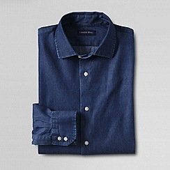 Lands' End - Blue men's tailored spread collar denim shirt