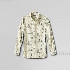 Lands' End - Cream men's tailored fit printed sail rigger oxford shirt