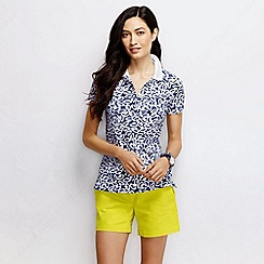 Lands' End - Blue women's slim fit short sleeve tipped collar printed pique polo shirt