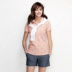 Lands' End - Pink women's slim fit short sleeve tipped collar printed pique polo shirt