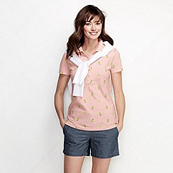 Lands' End - Pink petite slim fit short sleeve tipped collar printed pique polo shirt