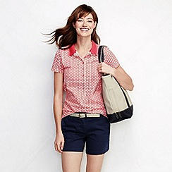 Lands' End - Cream women's slim fit short sleeve tipped collar printed pique polo shirt