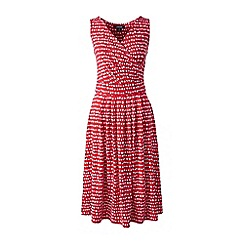 Lands' End - Red sleeveless fit n' flare print jersey dress