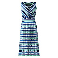 Lands' End - Blue sleeveless fit n' flare print jersey dress