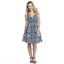 Lands' End - Blue women's sleeveless fit n' flare print jersey dress