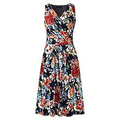 Lands' End - Multi plus sleeveless fit n' flare print jersey dress