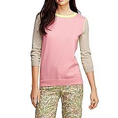 Lands' End - Pink women's tipped colourblock elbow sleeve supima crew neck