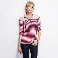 Lands' End - Pink women's three quarter sleeve slim fit mixed stripe pique polo shirt