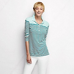 Lands' End - Blue women's three quarter sleeve slim fit mixed stripe pique polo shirt