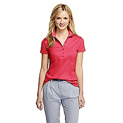 Lands' End - Red women's short sleeve slim fit pima polo