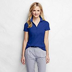 Lands' End - Blue women's short sleeve slim fit pima polo