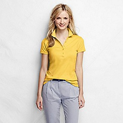 Lands' End - Yellow women's short sleeve slim fit pima polo