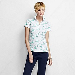 Lands' End - Cream women's short sleeve slim fit tipped collar printed pima polo