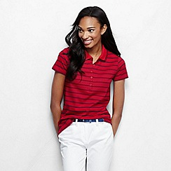 Lands' End - Red women's short sleeve slim fit tipped collar printed pima polo