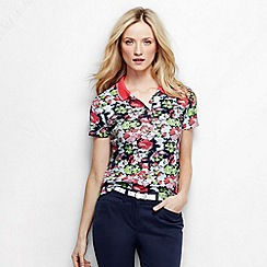 Lands' End - White women's short sleeve slim fit tipped collar printed pima polo