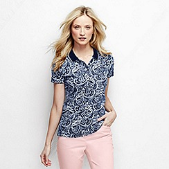 Lands' End - Blue women's short sleeve slim fit tipped collar printed pima polo