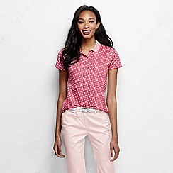 Lands' End - Pink women's short sleeve slim fit tipped collar printed pima polo