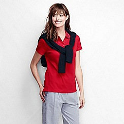 Lands' End - Red women's short sleeve slim fit tri colour tipped collar pima polo