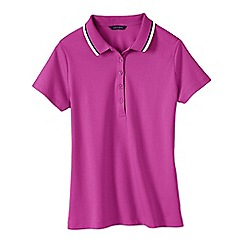 Lands' End - Pink women's short sleeve slim fit tri colour tipped collar pima polo