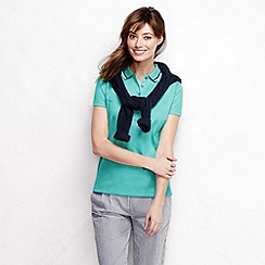 Lands' End - Blue women's short sleeve slim fit tri colour tipped collar pima polo