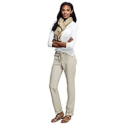 Lands' End - Cream women's linen drawstring trousers