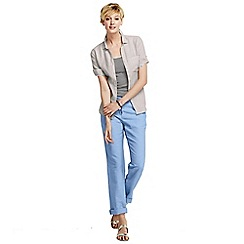 Lands' End - Blue women's linen drawstring trousers