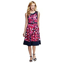 Lands' End - Blue ponte a-line floral dress