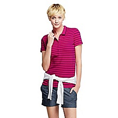 Lands' End - Pink women's slim fit short sleeve striped pique polo shirt
