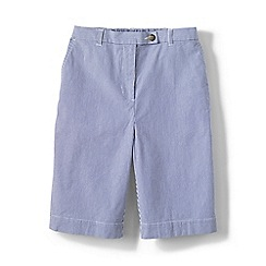 Lands' End - Blue regular back elastic pincord bermuda shorts