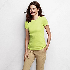 Lands' End - Yellow women's tall short sleeve shaped rib crew neck tee
