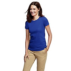 Lands' End - Blue women's tall short sleeve shaped rib crew neck tee