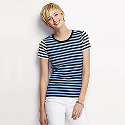 Lands' End - Blue women's short sleeved mixed stripe crew neck tee petite