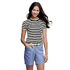 Lands' End - Black striped rib crew neck t-shirt tall