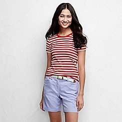 Lands' End - Red women's striped rib crew neck t-shirt tall