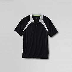Lands' End - Black men's active piqué polo