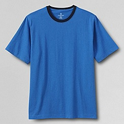 Lands' End - Blue men's short sleeve ringer super-t