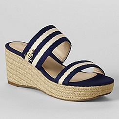 Lands' End - Beige women's webbing mid wedge slide