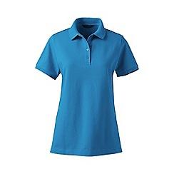 Lands' End - Blue pique short sleeve polo shirt tall
