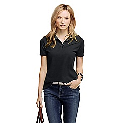 Lands' End - Black women's pique short sleeve polo shirt tall