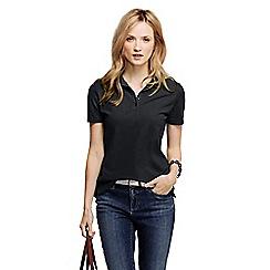 Lands' End - Black women's pique short sleeve polo shirt tall