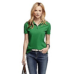 Lands' End - Green women's pique short sleeve polo shirt tall
