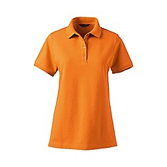 Lands' End - Orange pique short sleeve polo shirt tall