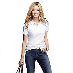 Lands' End - White women's pique short sleeve polo shirt tall