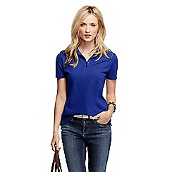 Lands' End - Blue women's pique short sleeve polo shirt tall