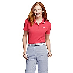 Lands' End - Red women's short sleeve pique tipped polo shirt tall