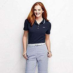 Lands' End - Blue women's short sleeve pique tipped polo shirt tall