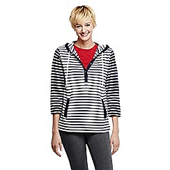 Lands' End - Blue women's three quarter sleeve mix stripe hoodie