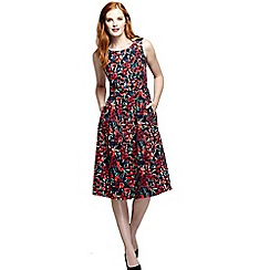 Lands' End - Red women's regular pleated scoop back patterned dress