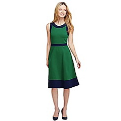Lands' End - Green women's ponte a-line colourblock dress