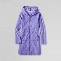 Lands' End - Purple little girls' solid zip front hooded cover up